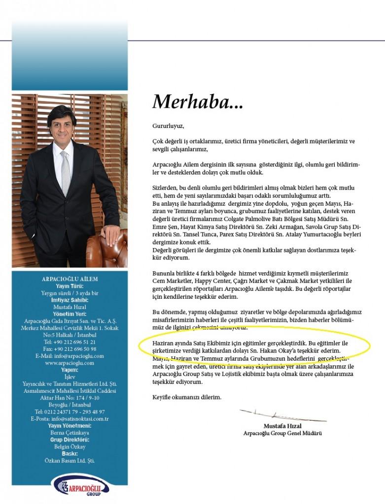 Arpacıoğlu Dergisi Genel Müdür Yazısı